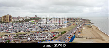 The summer 'Victorious' music festival captured from the 'Portsmouth Eye' ferris wheel. - Stock Photo