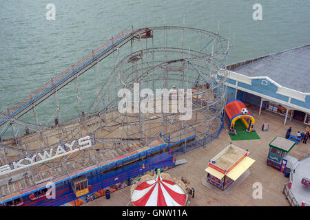 Clarence Pier roller coaster captured from the 'Portsmouth Eye' ferris wheel. - Stock Photo