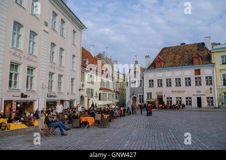 Tallinn, Estonia - March 27, 2010: Open air cafe on Town Hall Square in the center of Tallinn (Old Town). - Stock Photo