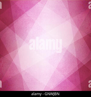 abstract pink background, white triangles and angled shapes layered in geometric line design with white faded texture - Stock Photo
