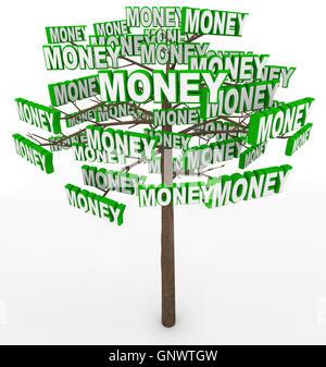 Money Growing on Trees Word on Tree Branches - Stock Photo