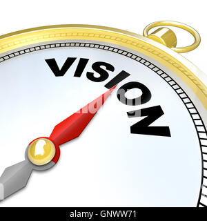 Vision Word on Gold Compass Plan Direction Strategy - Stock Photo