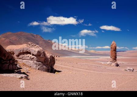 geological monolith close to Salar Aguas Calientes - Stock Photo