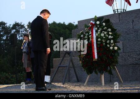 Gdansk, Poland 1st, September 2016 President Andrzej Duda and PM Beata Szydlo attend the ceremony of 77th anniversary - Stock Photo