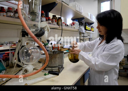 Jerusalem, Israel. 1st Sep, 2016. Christine Haj a post doctoral researcher working with a flask glassware containing - Stock Photo