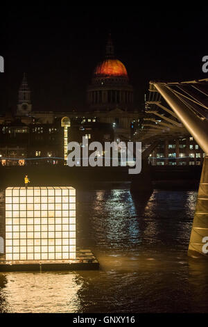 London, UK. 01st Sep, 2016. 'Floating Dreams' (Fires Ancient  by artist Martin Firrell, in the background) by Ik - Stock Photo
