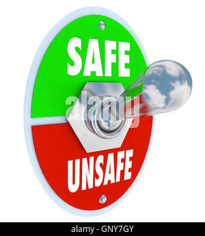 Safe or Unsafe Toggle Switch Choose Safety vs Danger - Stock Photo