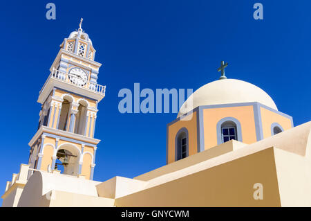 The distinctive St. John the Baptist Cathedral in Fira, Santorini, Cyclades, Greece - Stock Photo