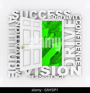 Open Door to Success - Positive Qualities - Stock Photo
