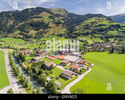 Aerial view, Rauris, Raurisertal valley, Pinzgau region, Salzburger Land, Austria, Europe - Stock Photo