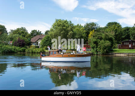 Swan Upping boat on Thames River at Lalham Reach, Laleham, Surrey, England, United Kingdom - Stock Photo