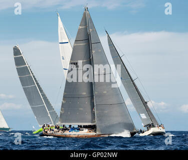 PORTO CERVO - 8 SEPTEMBER: teams competing on Maxi Yacht Rolex Cup sail boat race in Sardinia, on September 8 2015 - Stock Photo