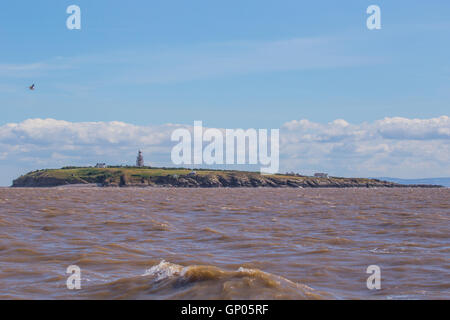 Flat Holm Island viewed from boat in the Bristol Channel - Stock Photo