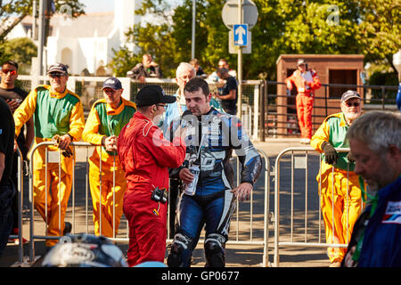 Michael Dunlop winner, in the TT classic superbike race at the Manx Festival of Motorcycling 2016 being interviewed - Stock Photo