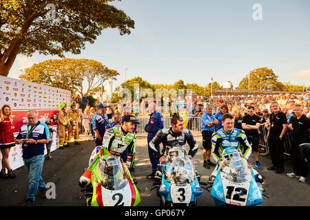 Michael Dunlop winner, Dean Harrison second, Jamie Hillier third, in the TT classic superbike race. - Stock Photo