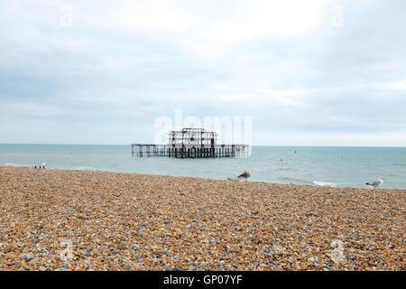 Brighton Pier, Bighton Beach, Sussex,United Kingdom - Stock Photo