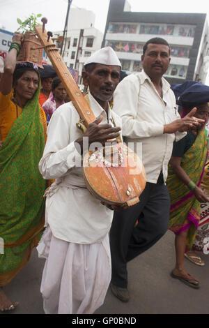 Pilgrims or wari at Pandarpur yatra, Maharashtra, India - Stock Photo