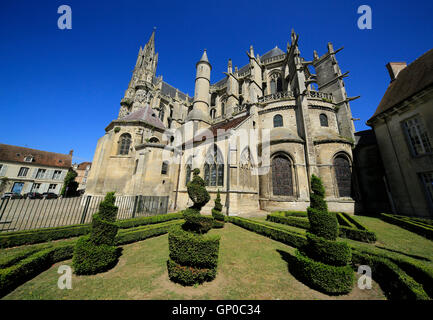 Old French town of Senlis near Paris in Picardie, France, cathedral, medieval church and spires
