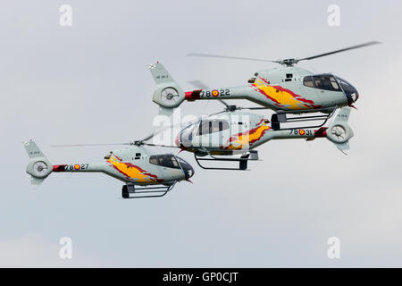 GILZE-RIJEN, THE NETHERLANDS - JUNE 20: Helicopters of the Spanish Air Force team Patrulla Aspa performing at the - Stock Photo
