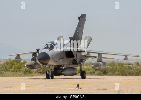 German Air Force Tornado fighter jet taxiing after landing on Zaragoza airbase. - Stock Photo