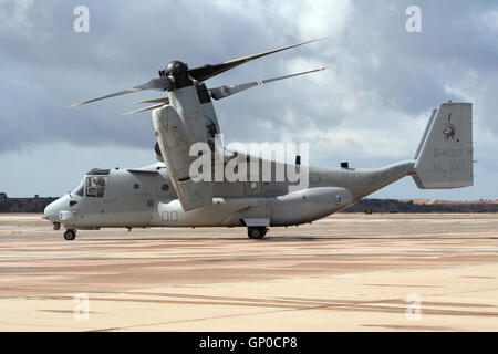US Marines MV-22 Osprey taxiing for take off at the Naval Air Station Miramar. - Stock Photo