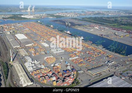 CONTAINERS & CRANES ON DELWAIDE DOCK (aerial view). Delwaidedok, Antwerp Harbor, Belgium. - Stock Photo