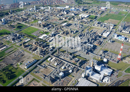 CHEMICAL PRODUCTION SITE OF BASF ANTWERPEN (aerial view). Antwerp Harbor, Belgium. - Stock Photo