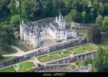 USSÉ CASTLE (aerial view). Centre, France. - Stock Photo