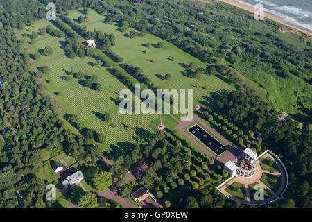 NORMANDY AMERICAN CEMETERY & MEMORIAL (aerial view). Colleville-sur-Mer, Calvados, Normandy, France. - Stock Photo
