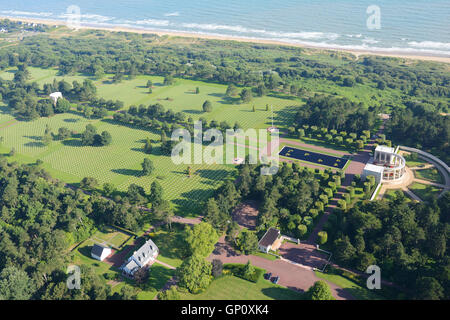 NORMANDY AMERICAN CEMETERY & MEMORIAL OVERLOOKING OMAHA BEACH (aerial view). Colleville-sur-Mer, Calvados, Normandy, - Stock Photo