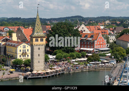 old town, harbour and tower Mangenturm Lindau, Bavaria, Germany - Stock Photo