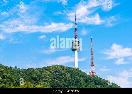 Korea,Namsan Tower in Seoul,South Korea - Stock Photo