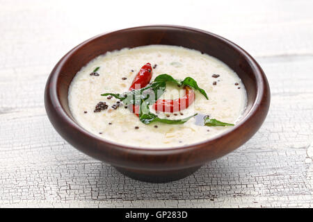 homemade coconut chutney, indian food - Stock Photo
