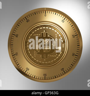 Concept Of Gold Bitcoin Like A Security Lock - Stock Photo