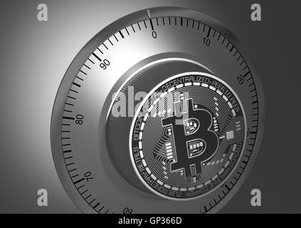 Close-Up Of Bitcoin Like A Safe Lock - Stock Photo