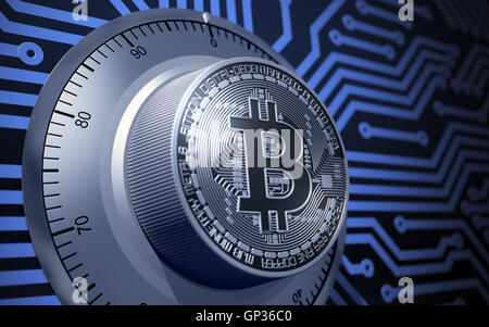 Concept Of Bitcoin Like A Electronic Security Lock - Stock Photo