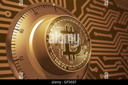 Concept Of Gold Bitcoin Like A Electronic Security Lock - Stock Photo