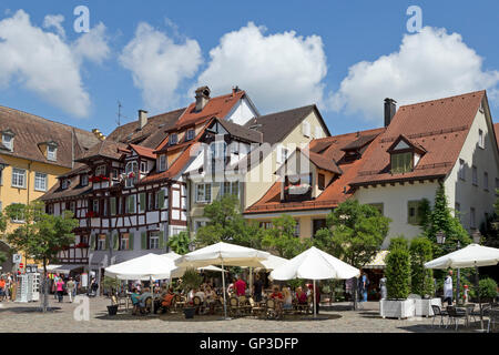 square in front of the new castle, upper town, Meersburg, Lake Constance, Baden-Wuerttemberg, Germany - Stock Photo