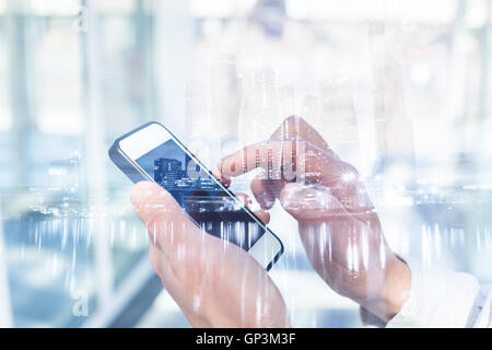 double exposure of mobile technology - Stock Photo