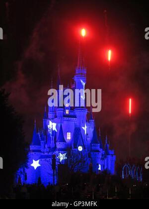 Orlando, Florida. February 19th, 2013. The Walt Disney World Cinderella Castle in Magic Kingdom lit up and with - Stock Photo