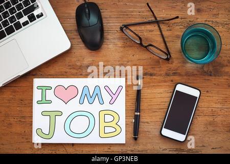 i love my job, happy employee concept - Stock Photo