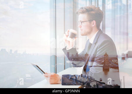 double exposure of business man and London skyline cityscape - Stock Photo