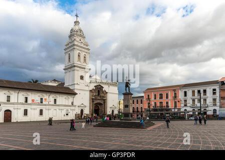 Plaza Santo Domingo, with statue to Field Marshal Antonio Jose de Sucre. Quito, Ecuador. - Stock Photo