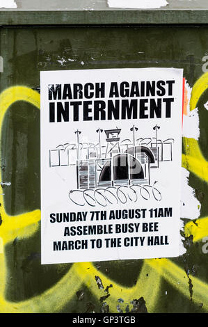 Poster on a wall in Belfast advertising a 'March Against Internment', to protest against the detention without trial - Stock Photo