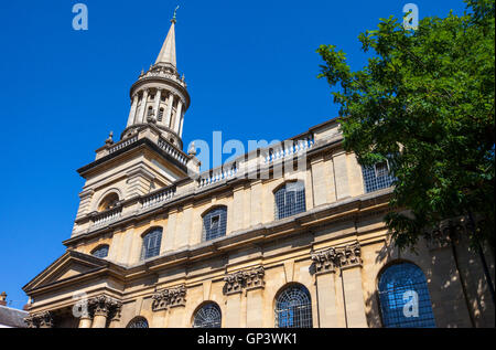 Looking up the exterior of All Saints Church in Oxford.  It now houses the library for Lincoln College. - Stock Photo