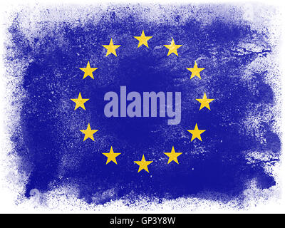 Powder paint exploding in colors of European Community flag isolated on white background. Abstract particles explosion - Stock Photo