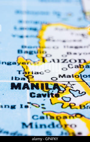 close up of Manila on map, Philippines - Stock Photo