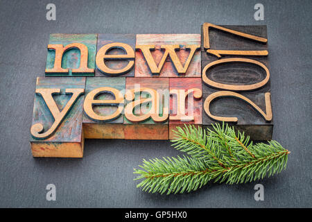 New Year 2017 greeting card - text in vintage letterpress wood type blocks on a slate stone background with a spruce - Stock Photo