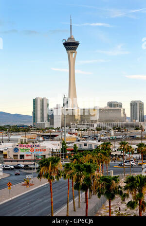 The north end of the Las Vegas Strip with the Stratosphere Tower, Hotel and Casino - Stock Photo