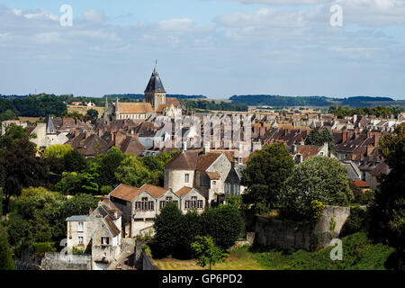 Looking across Falaise town from the keep of Château de Guillaume le Conquérant (William the Conqueror's Castle), - Stock Photo